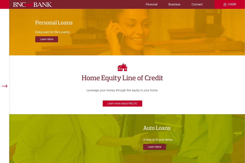 BNC Bank webpage sample